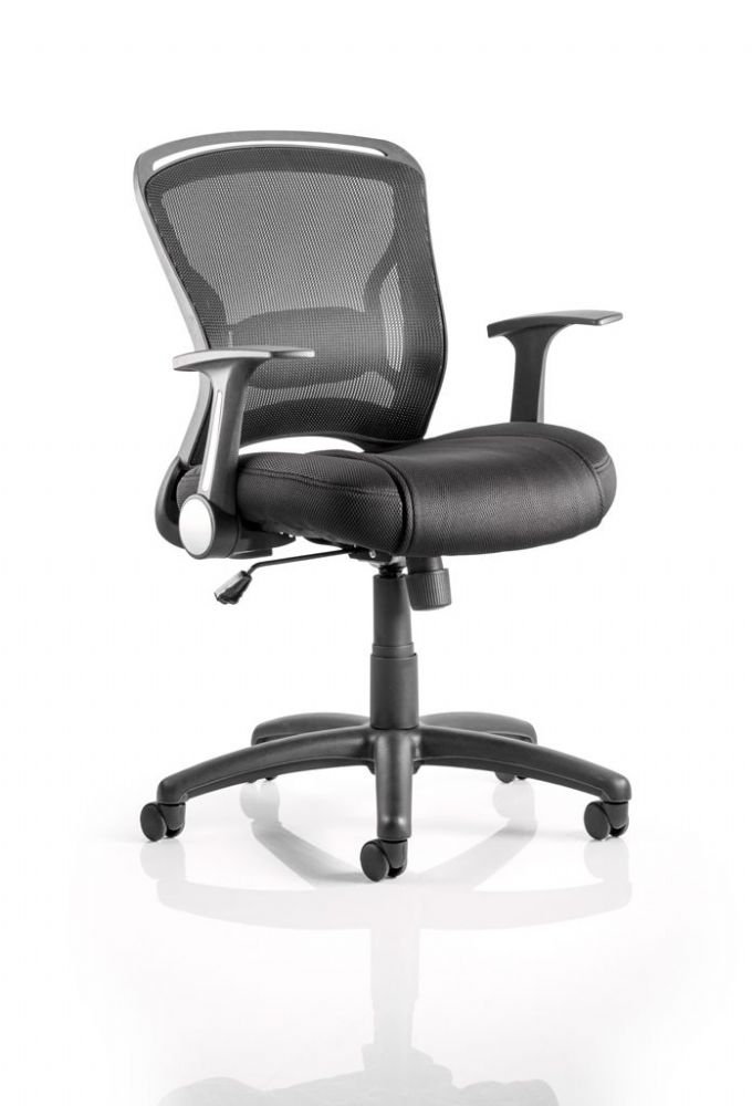 Zeus Breathable Black Airmesh Back Operator Chair Task Foldaway Armrests Various Seat Colours